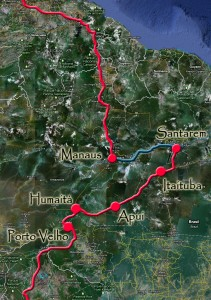 Solidream's route through the Amazon rainforest